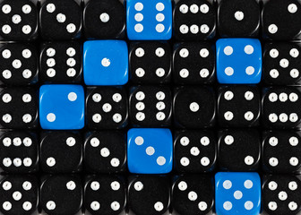Background of random ordered black dices with six blue cubes