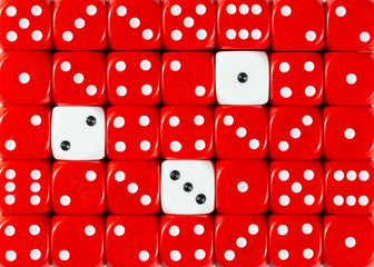 Background of random ordered red dices with three white cubes