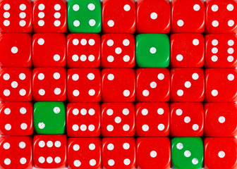 Background of random ordered red dices with four green cubes