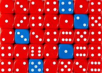 Background of random ordered red dices with five blue cubes