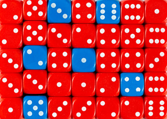 Background of random ordered red dices with six blue cubes