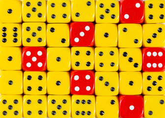 Background of random ordered yellow dices with six red cubes
