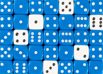 Background of random ordered blue dices with six white cubes