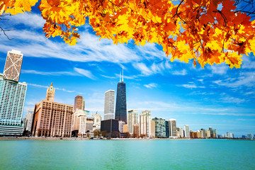 View on waterfront with autumn leaves Chicago Wall mural