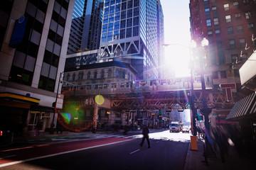 Chicago street and transport city metro bridge