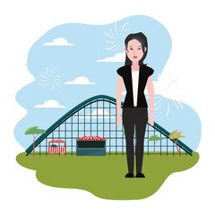 woman roller coaster in the park amusement