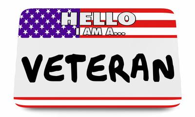 Veteran US American Flag Name Tag 3d Illustration