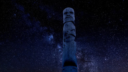 Ancient Maori Wooden Idol Standing Out Against Night Starry Sky