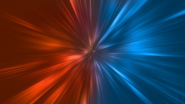 Abstract zoom lights with color of Fire and Ice element against (vs) each other background. Heat and Cold concept