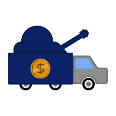 Military truck with a dollar coin. Vector illustration design