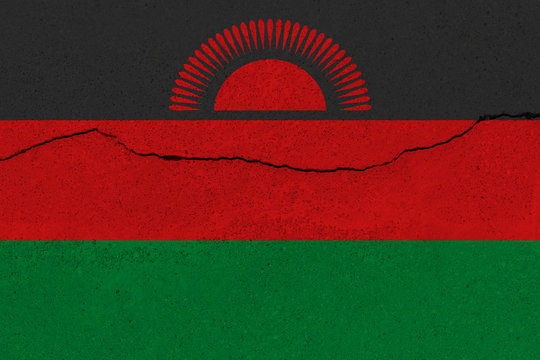 Malawi flag on concrete wall with crack
