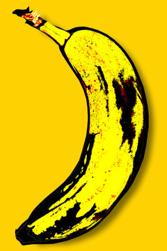 Yellow banana in the style of Andy Warhol