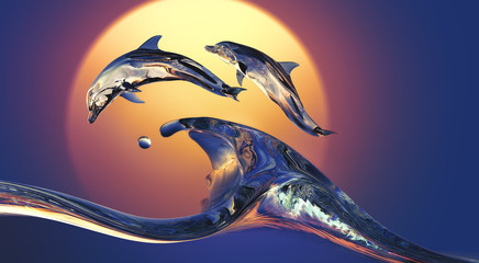 Dolphins jumping over Vibrant sunset sea Water wave with bright background, 3d illustration