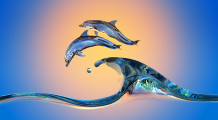 Wall Mural - Dolphins jumping over Vibrant sunset sea Water wave with bright background, 3d illustration