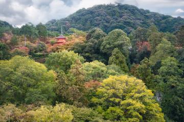 Koyasu Pagoda View on Mount Otawa at Kiyomizu garden in Kyoto, Japan.