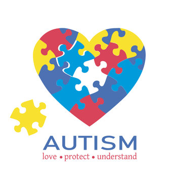 Autism awareness concept vector. Colorful heart puzzle.