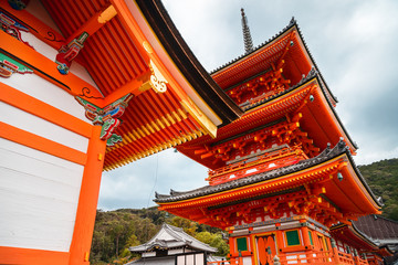 Low angle perspective of the Pagoda Tower at Kiyomizu-dera Buddhist Temple, Kyoto, Japan.