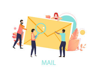 Mail icon with yellow envelope and people.