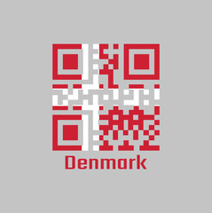 QR code set the color of Denmark flag. it is red with a white Scandinavian cross that extends to the edges of the flag.