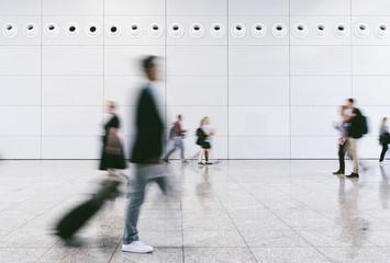 Crowd of people walking on a street in london