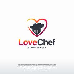 Love Cooking Chef logo, Restaurant logo template