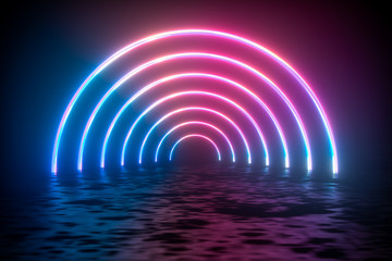 colorful glowing lines, 3d rendering