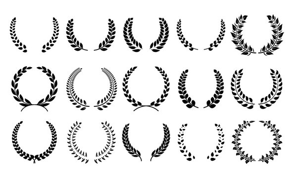 Silhouette laurel wreath. Heraldic trophy crest, Greek and Roman olive branch award, winner round emblem. Vector black laurels set