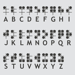 Braille alphabet letters icon isolated of flat style. Vector illustration.