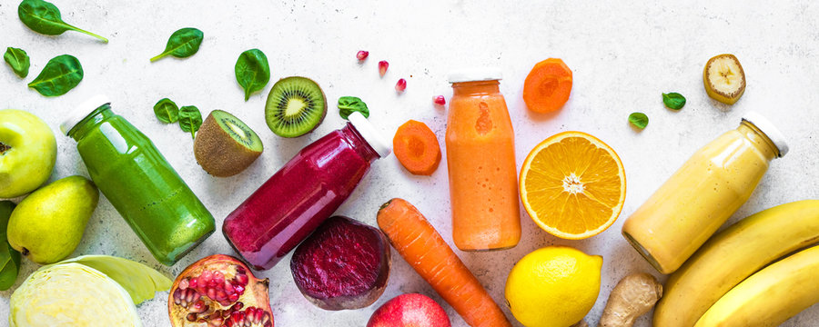 smoothies or juices in bottles