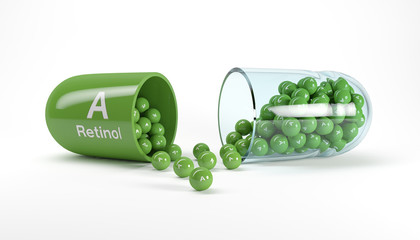 3d rendering of a vitamin capsule with vitamin A - retinol