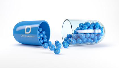 3d rendering of a vitamin capsule with vitamin D - cholecalciferol