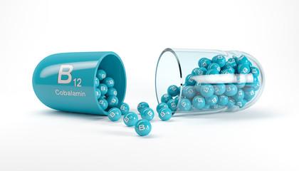 3d rendering of a vitamin capsule with vitamin B12 - cobalamin