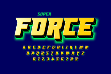 Comics style font design, super force, alphabet letters and numbers vector illustration
