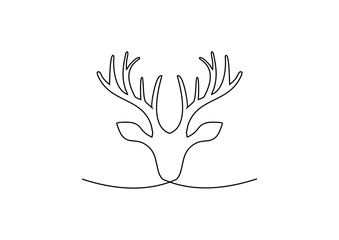 continuous line drawing of deer vector