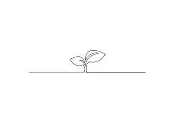 continuous line drawing of growing sprout vector
