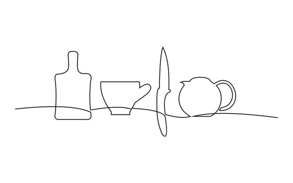 Continuous line drawing of kitchen set restaurant