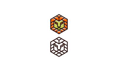 lion head geometry line art logo icon vector