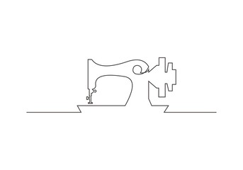 continuous line drawing of sewing machine vector