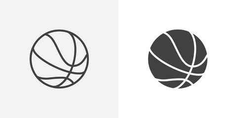 Foto op Plexiglas Bol Basketball ball icon. line and glyph version, outline and filled vector sign. Rubber ball linear and full pictogram. Sports equipment symbol, logo illustration. Different style icons set