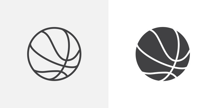Basketball ball icon. line and glyph version, outline and filled vector sign. Rubber ball linear and full pictogram. Sports equipment symbol, logo illustration. Different style icons set