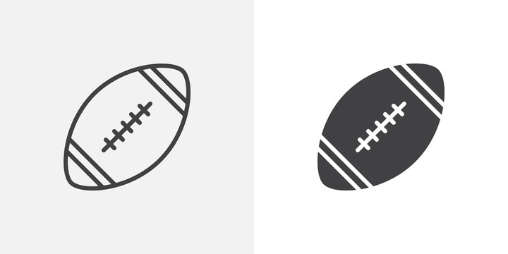 Rugby ball icon. line and glyph version, outline and filled vector sign. American football ball linear and full pictogram. Symbol, logo illustration. Different style icons set
