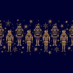 Christmas gold horizontal vector seamless Nutcracker pattern.  Seamless pattern can be used for wallpaper, pattern fills, web page background, surface textures.