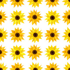Floral seamless pattern of sunflowers.