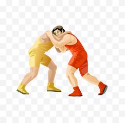 wrestling isolated illustration