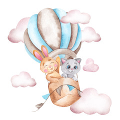 Watercolor illustration with cute rabbir and cat, air balloon