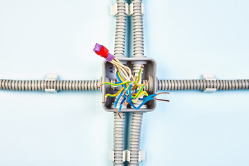 Insulating tape and shrinkable tube twisted wires.