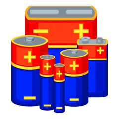 Colorful cartoon battery set