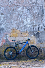 Tuinposter Fiets A modern blue mountain bike stands at a vintage brick wall with old concrete.