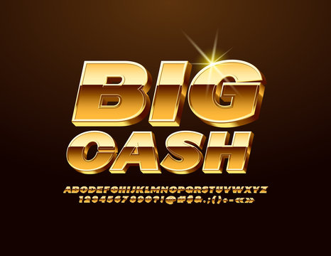 Vector Golden label Big Cash with 3D Font. Majestic elegant Alphabet Letters, Numbers and Symbols.