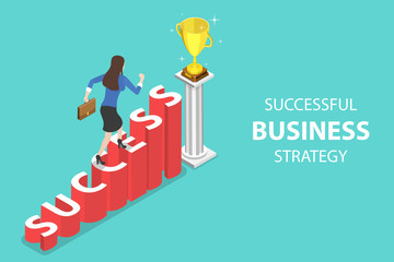 Isometric flat vector concept of success, competition, winning plan, business leadership, award, career goals, successful project